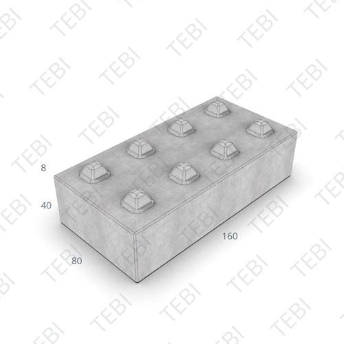 Megablok 160x80x40cm grijs 8 nok