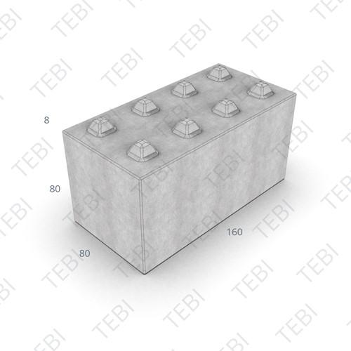 Megablok 160x80x80cm grijs 8 nok