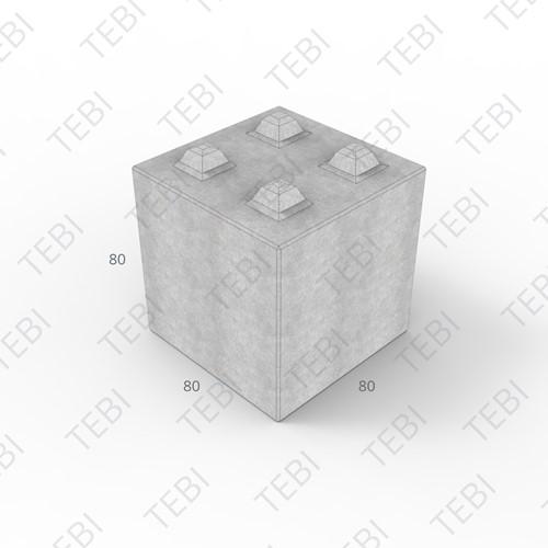 Megablok 80x80x80cm grijs 4 nok