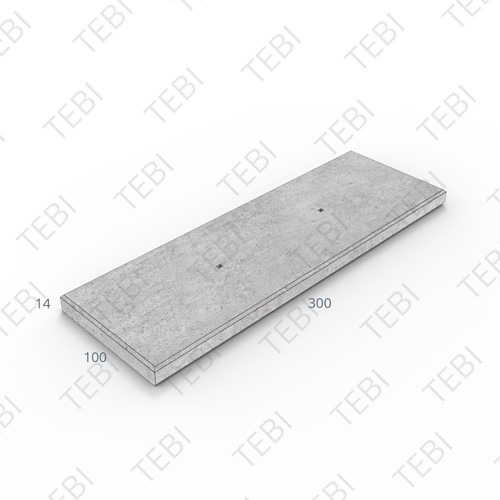 Industrieplaat C50/60 ZHR EN 300x100x14cm Ruw