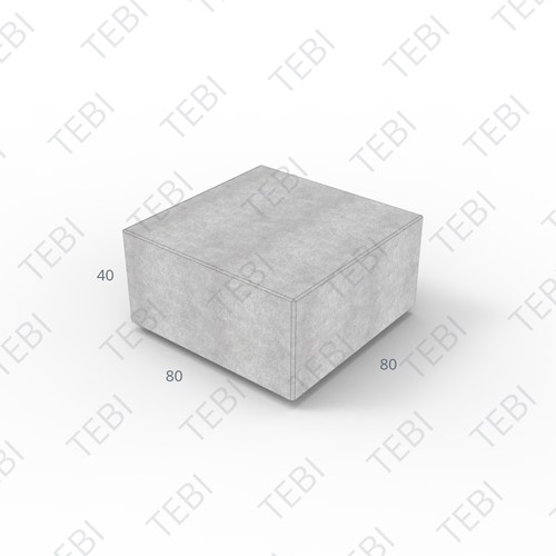 Megablok 80x80x40cm grijs zonder nok