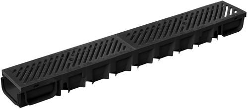 Top Drain met zwart gietijzer rooster 100x13x8,5cm