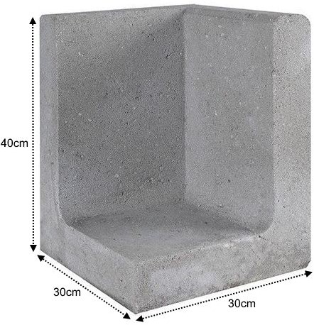 L-Element Hoek 30x30x40cm grijs
