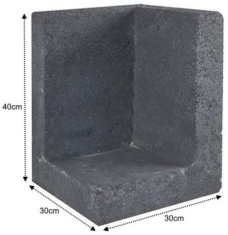 L-Element Hoek 30x30x40cm zwart