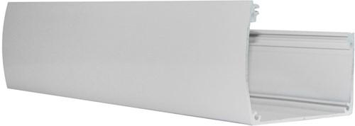 Luxe aluminium bakgoot 600cm breed inclusief doorvoer, RAL 9001. (W43540)